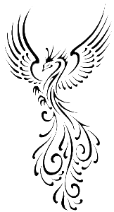 A black on transparent graphic of a phoenix bird with large plumage for a tail